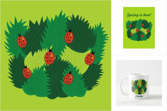 Zazzle collection of products with fun spring leaves design