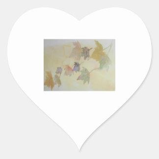 Spring Leaves Heart Sticker