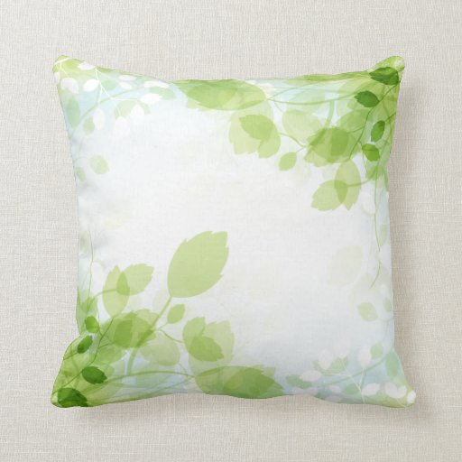 Modern Leaf Throw Pillow : Spring Leaves Modern Watercolor Throw Pillow Zazzle