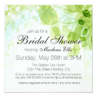 Spring Leaves Watercolor Bridal Shower Card