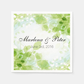 Spring Leaves Watercolor Wedding Collection Standard Cocktail Napkin