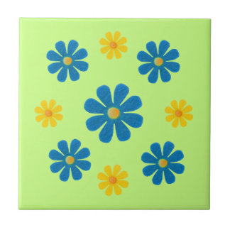 Spring light blue and yellow flowers for kitchen ceramic tile