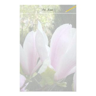 spring light purple magnolia flowers stationery