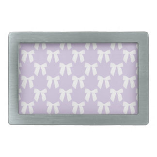 Spring Lilac Pastel With White Bows Rectangular Belt Buckles