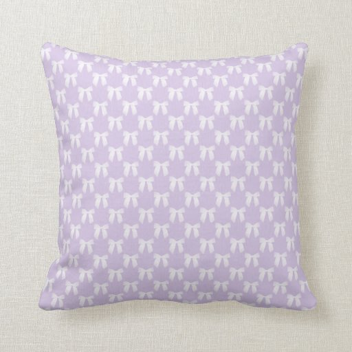 Throw Pillow Lilac : Spring Lilac Pastel With White Bows Throw Pillow Zazzle