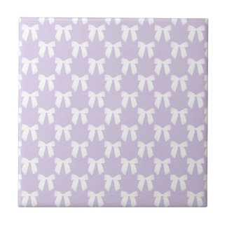 Spring Lilac Pastel With White Bows Small Square Tile