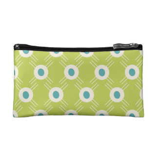 Spring Lime Green Blue Circles Mother's Day Gifts Makeup Bag