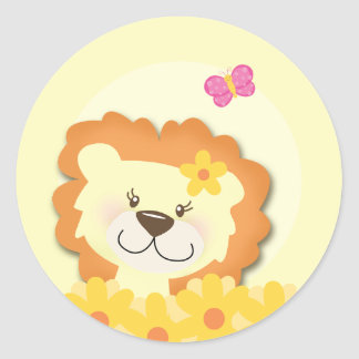 Spring Lion (Girl) Cupcake Toppers / Envelope Seal Classic Round Sticker