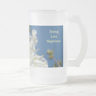 Spring Love Happiness Frosted Glass Mug Blossoms