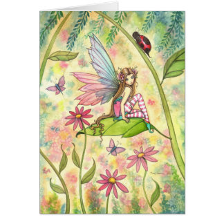 Spring Magic Cute Fairy and Ladybug Fantasy Art Card