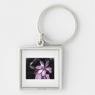 Spring Magnolia Pink Silver-Colored Square Keychain