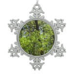 Spring Maple Leaves Green Nature Snowflake Pewter Christmas Ornament