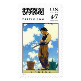 Spring, Maxfield Parrish Postage Stamp