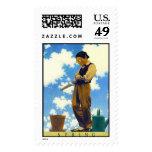Spring, Maxfield Parrish - Postage Stamp