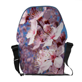 Spring Messenger bags Pink Tree Blossoms Sky
