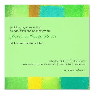 "Spring mint Bachelor Party Invitation 5.25"" Square Invitation Card"