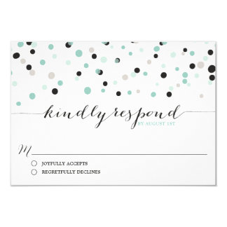 Spring Mint Confetti Dots Wedding RSVP Card