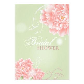 Spring mint pink peony botanical bridal shower card