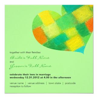 """Spring mint Square Wedding Invitation 5.25"""" Square Invitation Card"""