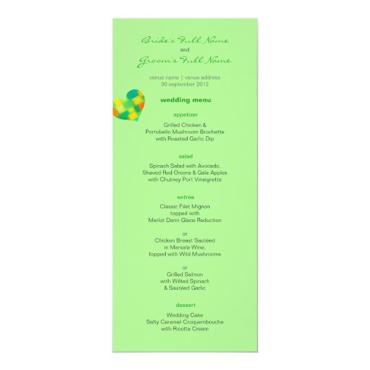 Spring mint Wedding Menu Card