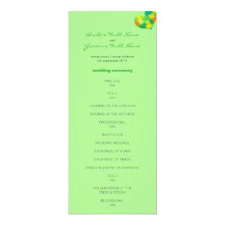 "Spring mint Wedding Program 4"" X 9.25"" Invitation Card"