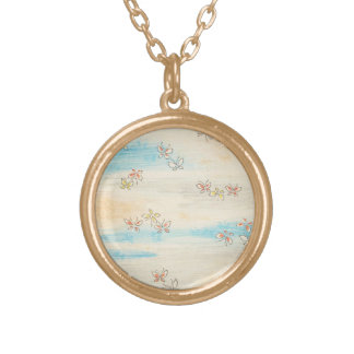 Spring Misty Flowers Round Pendant Necklace