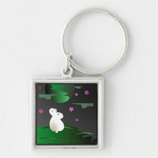 """Spring"" Moon Bunny Keychain"