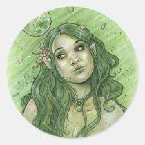 gothic, fairy, elf, portrait, face, woman, goth, moon, fae, faeries, elven, princess, beauty, season, leave, leaf, maple, punk, emo, vamp, vampire, fantasy, zerick, delphine, levesque, demers, nymph, girl, green, spring, flower, goddess, vampires, Sticker with custom graphic design
