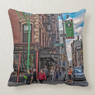 Spring & Mulberry-Street Scene-NYC & Mulberry St. Throw Pillow