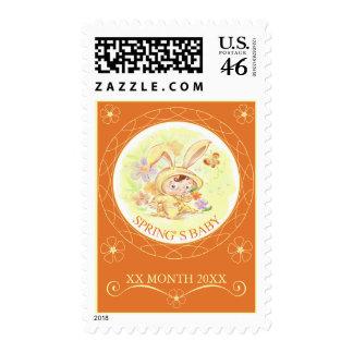 Spring New Baby Rabbit Illustration 2 Stamps