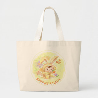 Spring New Baby Rabbit Illustration Canvas Bag