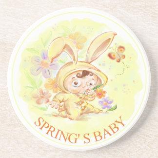 Spring New Baby Rabbit Illustration Coasters