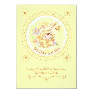 "Spring New Baby Rabbit Illustration 5"" X 7"" Invitation Card"