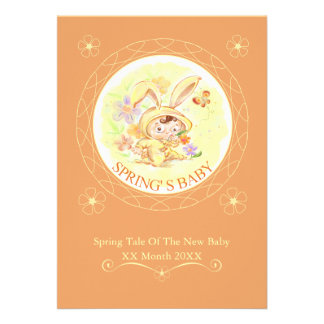 Spring New Baby Rabbit Illustration Personalized Announcement