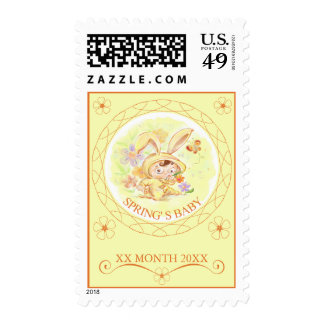 Spring New Baby Rabbit Illustration Postage Stamps