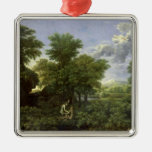 Spring, or The Garden of Eden Square Metal Christmas Ornament