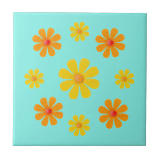 Spring orange and yellow flowers for kitchen tile