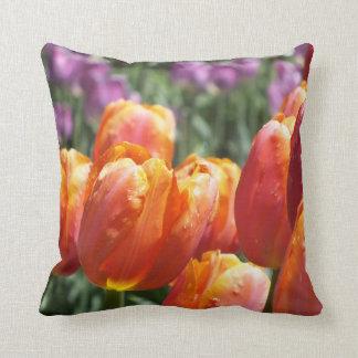 Spring Orange Salmon Tulips Throw Pillow