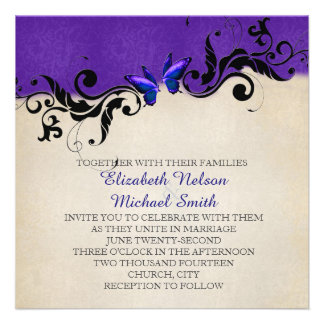 Spring Ornaments Blue Butterfly Wedding Invite