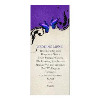Spring Ornaments Blue Butterfly Wedding Menu Custom Announcement