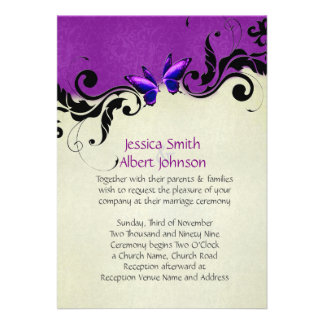 Spring Ornaments Lavender Butterfly Wedding Invite