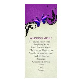 Spring Ornaments Lavender Butterfly Wedding Menu Invitation