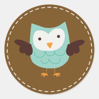 Spring Owl {aqua} Classic Round Sticker
