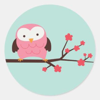 Spring Owl Classic Round Sticker
