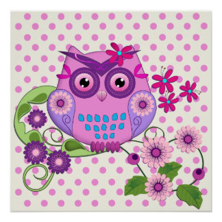 Spring Owl, Flowers, Polka dots Poster