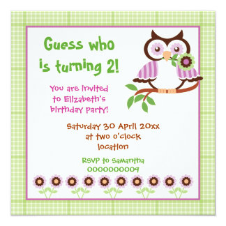 Spring owl kids birthday party green border card