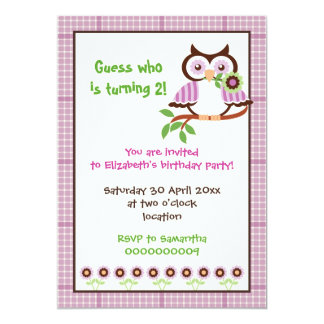 "Spring owl kids birthday party purple border 5"" x 7"" invitation card"
