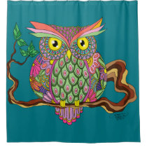 Spring Owl Shower Curtain