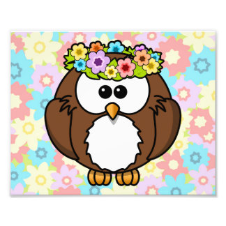 Spring Owl With Flowers Photograph
