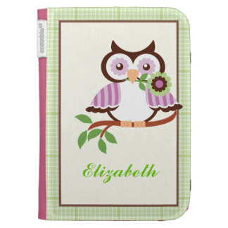 Spring owl with green plaid border Kindle case